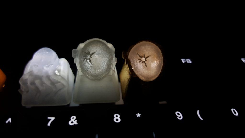 3D printed keycaps at night