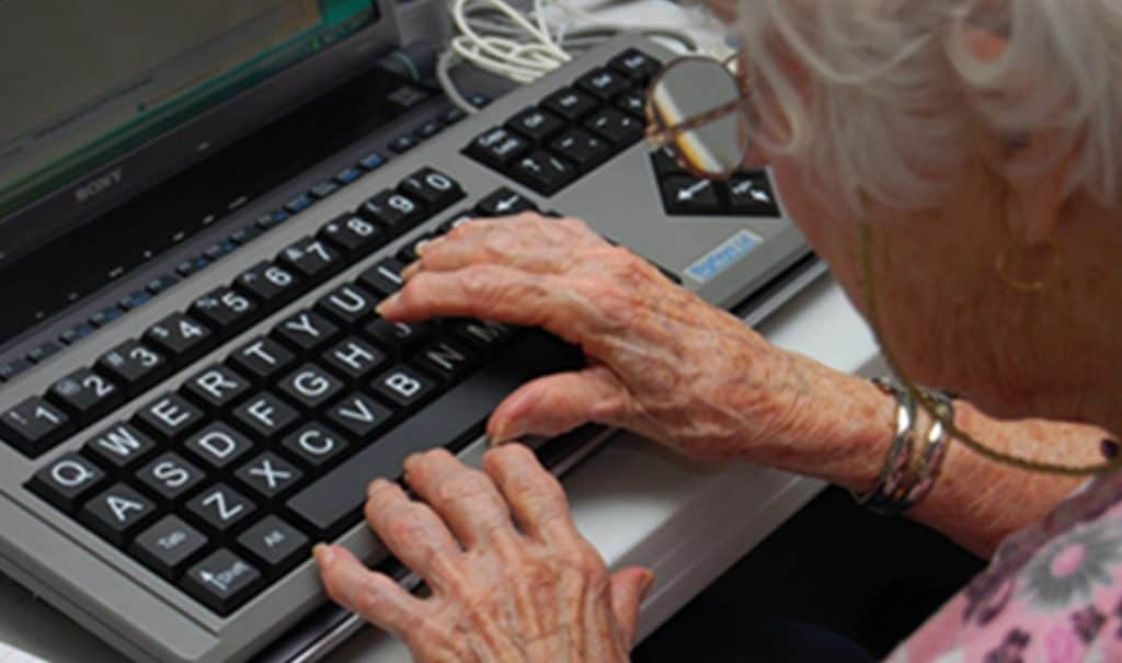 elderly typing bigkeys keyboard
