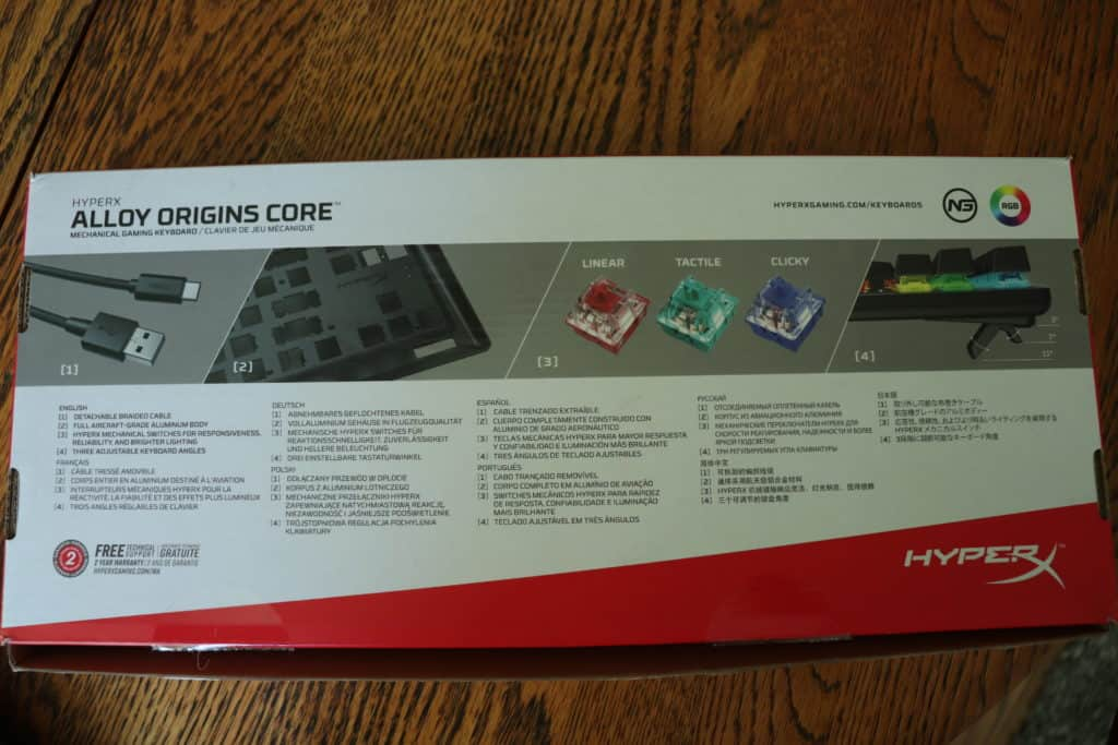 Outer box of HyperX Alloy Origins Core